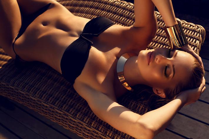 beautiful woman two-piece swimwear
