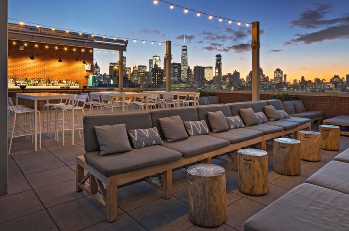 best rooftop bars nyc - Mr. Purple rooftop bar at hotel indigo