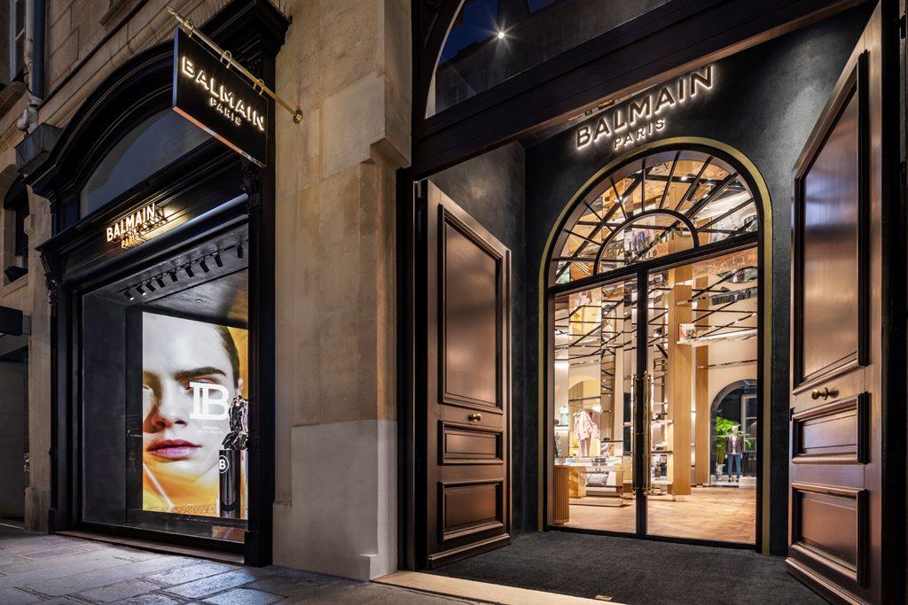Exterior of Balmain Flagship Store Saint Honoré, Paris - Designed by Studio AMV