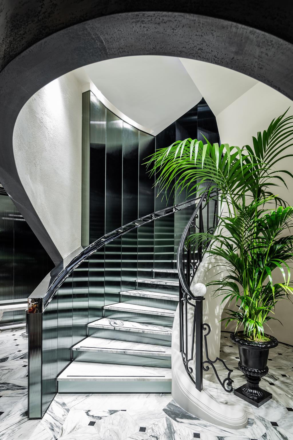 Staircase at Balmain Flagship Store Saint Honoré, Paris - Designed by Studio AMV