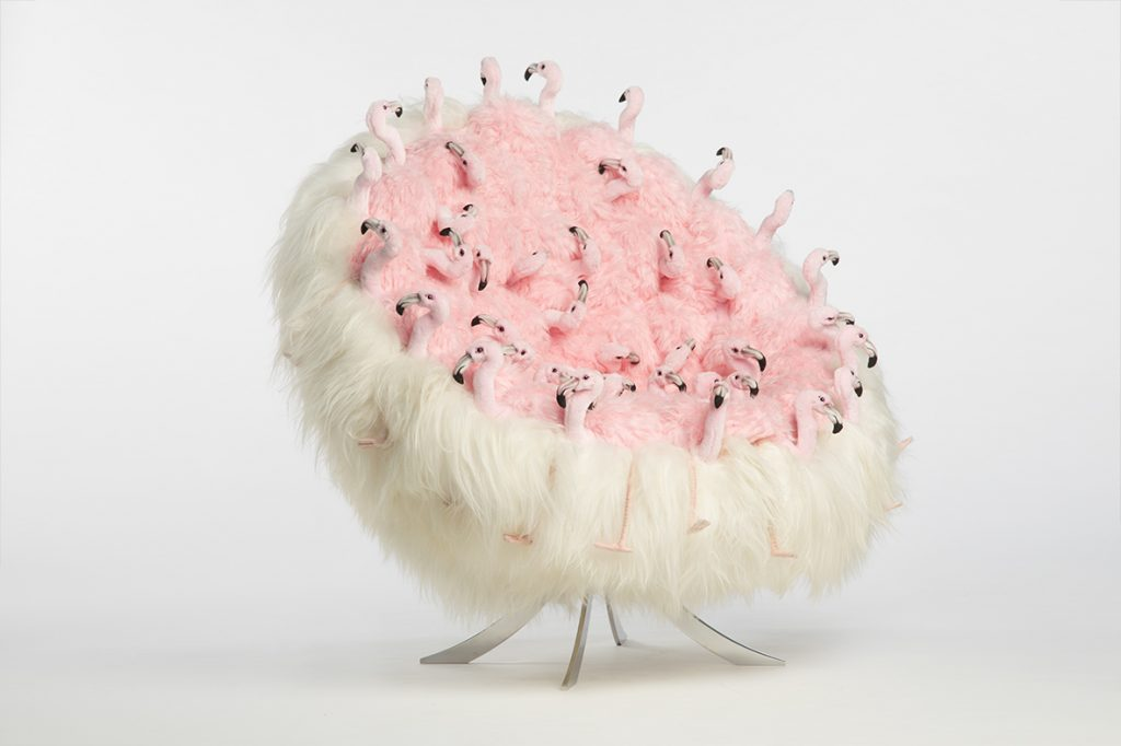 chair with flamingo stuffed animals by ap collection - camp and kitsch furniture