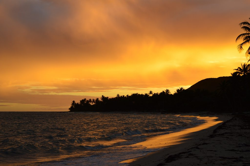 beach at sunset in guadeloupe