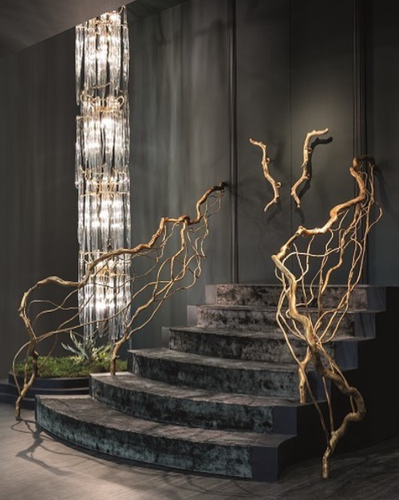 staircase and long glass chandelier at serip organic lighting at euroluce 2019 - top lighting manufacturers