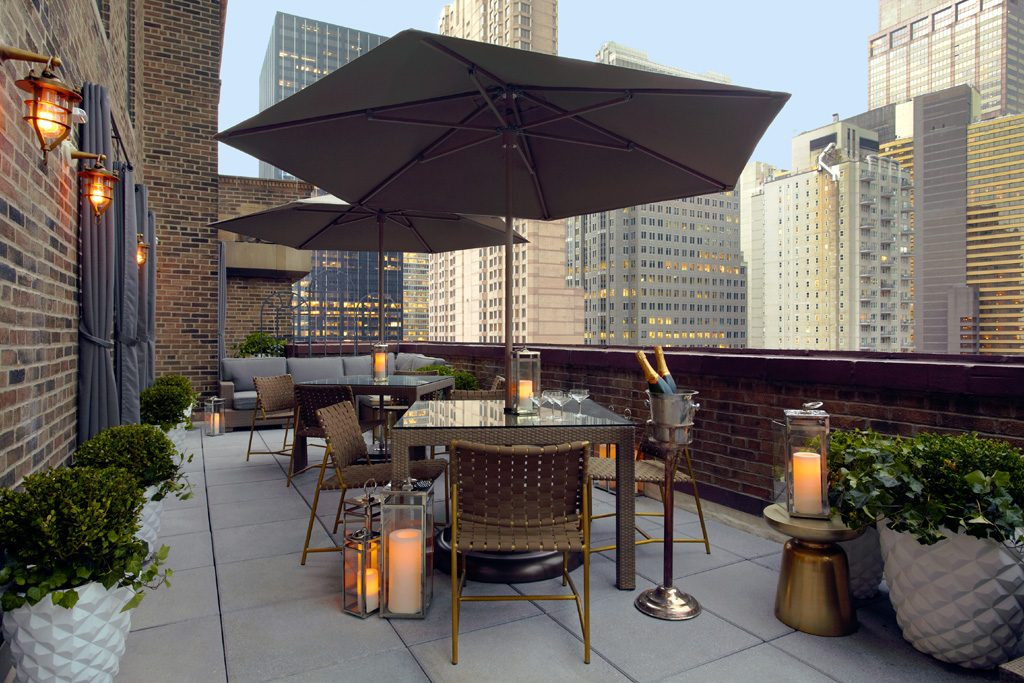 the outdoor terrace at the terrace westhouse new york