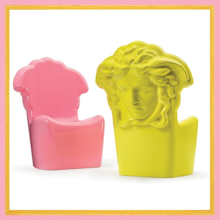 Pop Medusa Chairs in neon pink and  yellow by Versace Home - camp and kitsch furniture