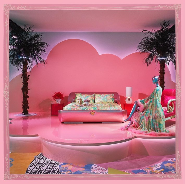 bedroom area at versace home collection launch during salone del mobile 2019 with sasha bikoff - camp and kitsch at home