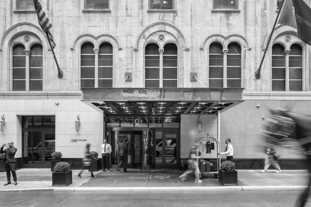 black and white photo of the exterior of the westhouse new york