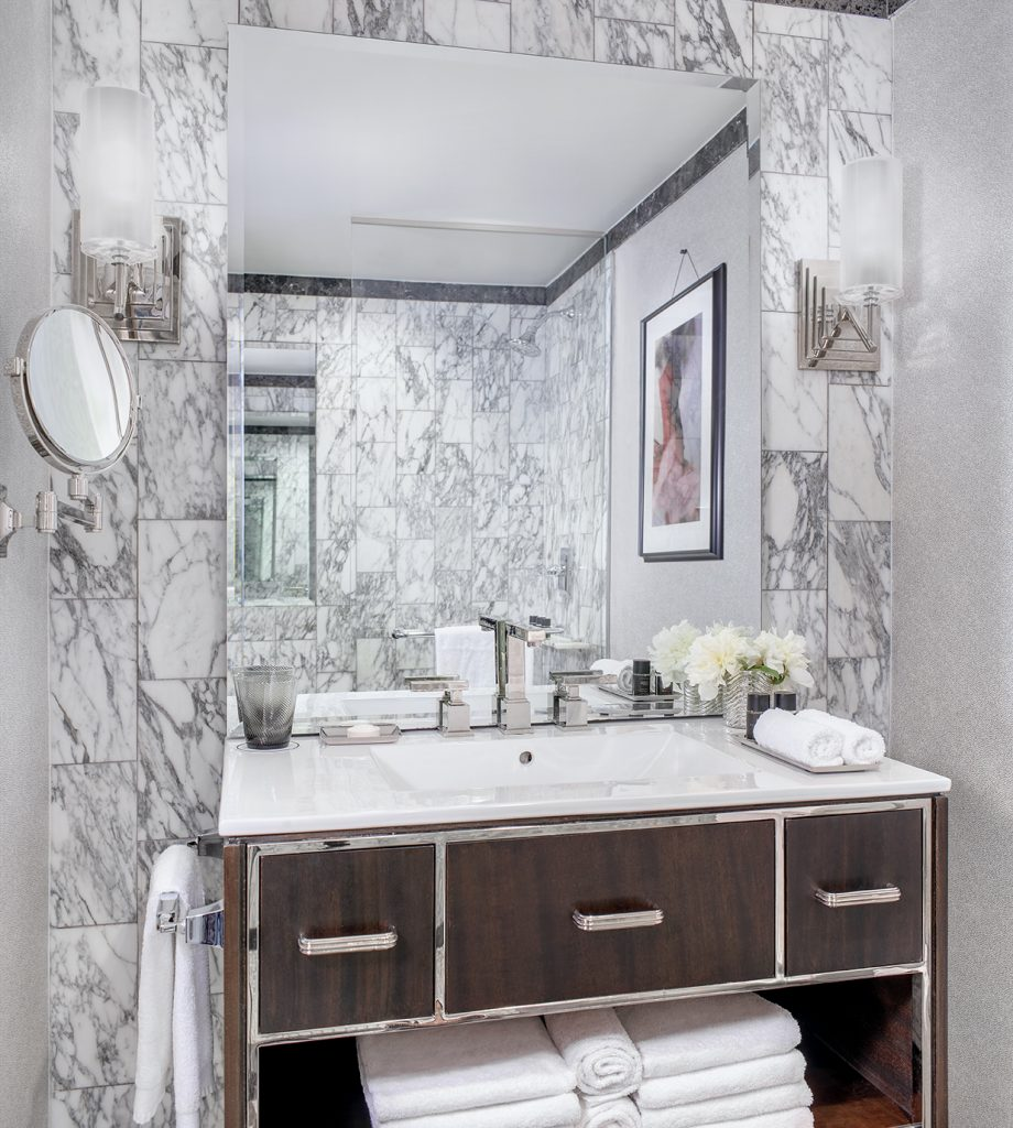 marble art deco inspired bathroom at westhouse new york