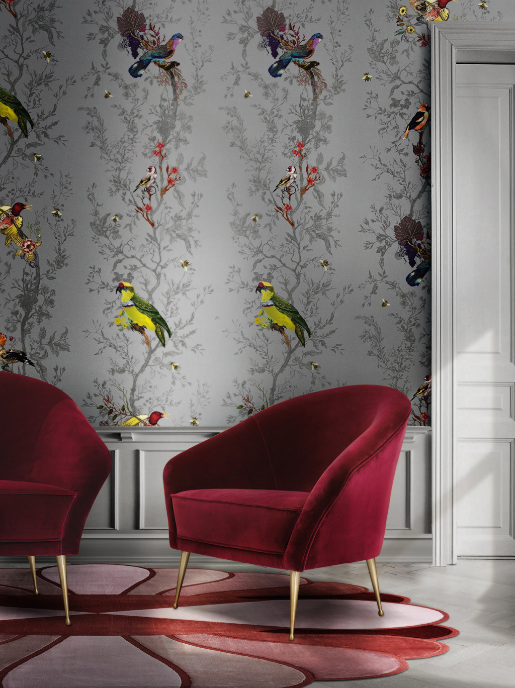 a bold interior design with red chiclet chair by koket and bird wallpaper