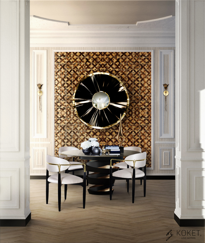 luxurious dining room by koket - intuition dining table and nahema dining chairs