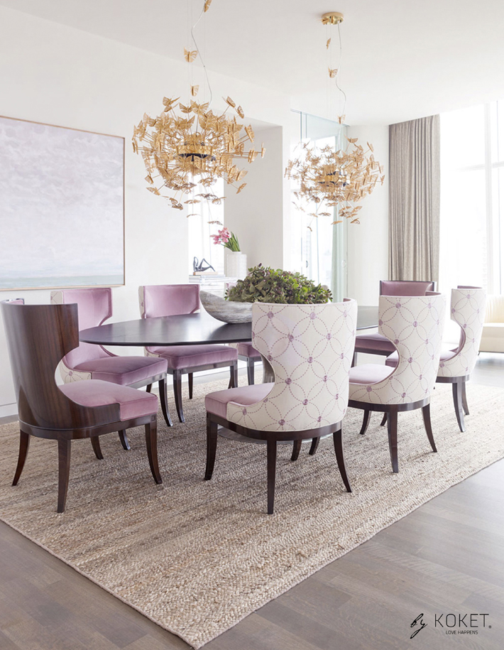 luxurious dining room design featuring koket nymph chandeliers
