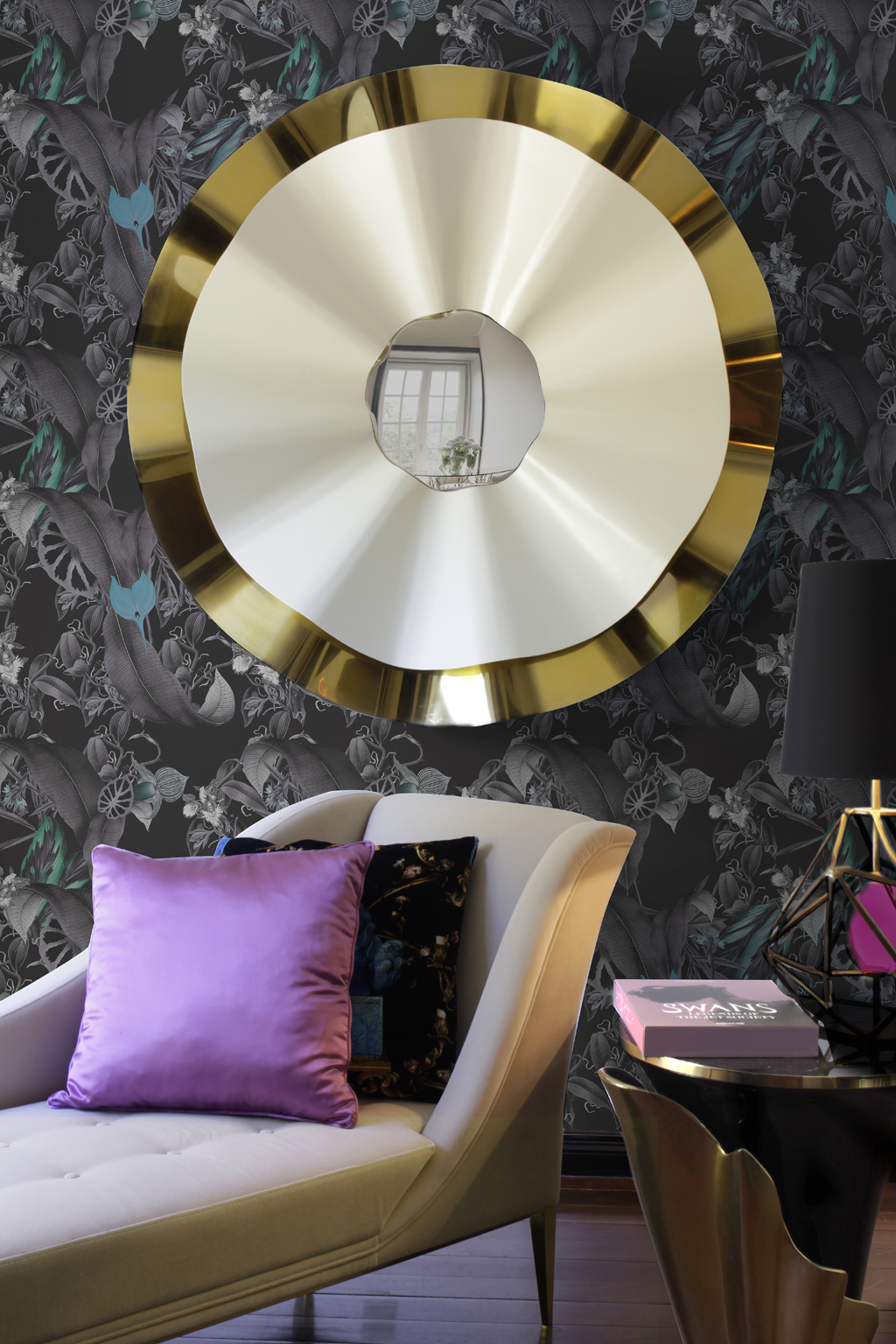 striking gold reve mirror by koket in a bold interior design