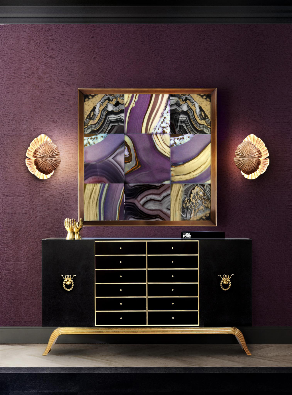 regal purple walls in a foyer with a bold interior design