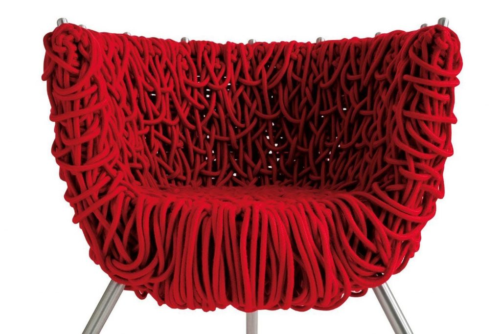 Edra Vermelha Armchair in Handwoven Special Cord - camp and kitsch furniture