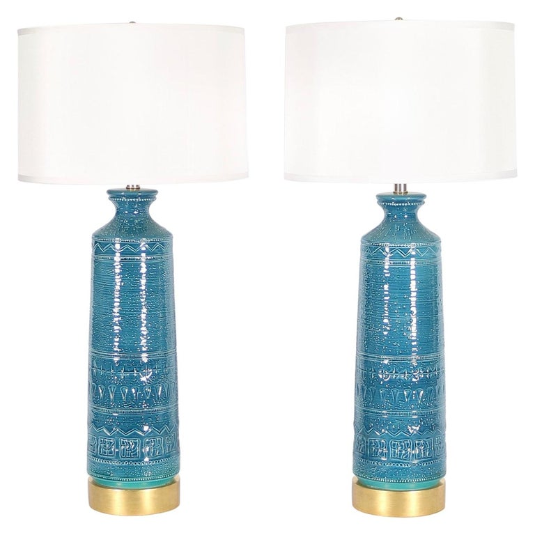 Italian Hollywood Regency Bittossi Style Lamps in Blue & Aqua Glazed Ceramic from 1stDibs - summer home design trends