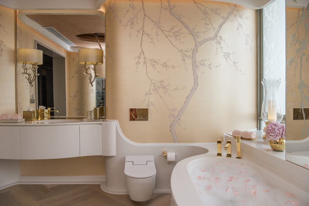 feminine master bathroom design in a bachelorette pad by design intervention in singapore