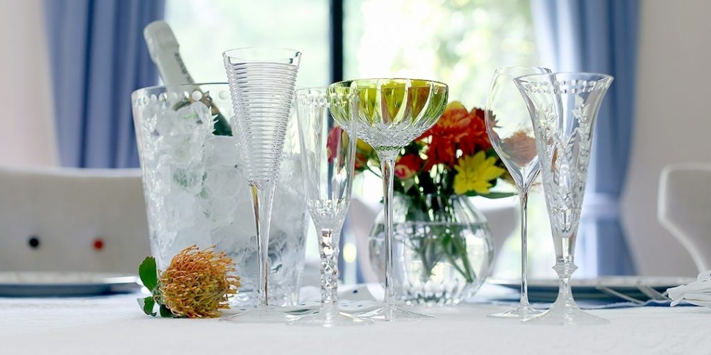 A variety of champagne glasses designed by William Yeoward