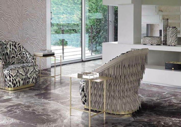 animal print chairs with leather fringe by roberto cavalli home 2019
