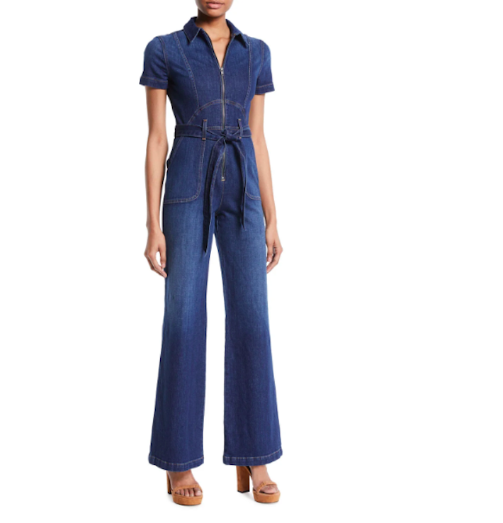ALICE + OLIVIA Gorgeous Wide- Leg Fitted Denim Jumpsuit Fourth of July Outfits