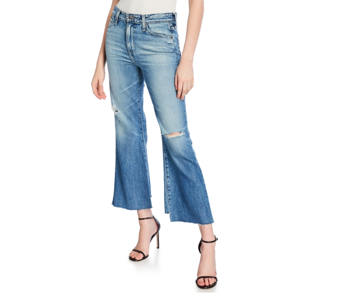 AG ADRIANO GOLDSCHMIED Quinne Cropped High Rise Distressed Jeans Fourth of July Outfits
