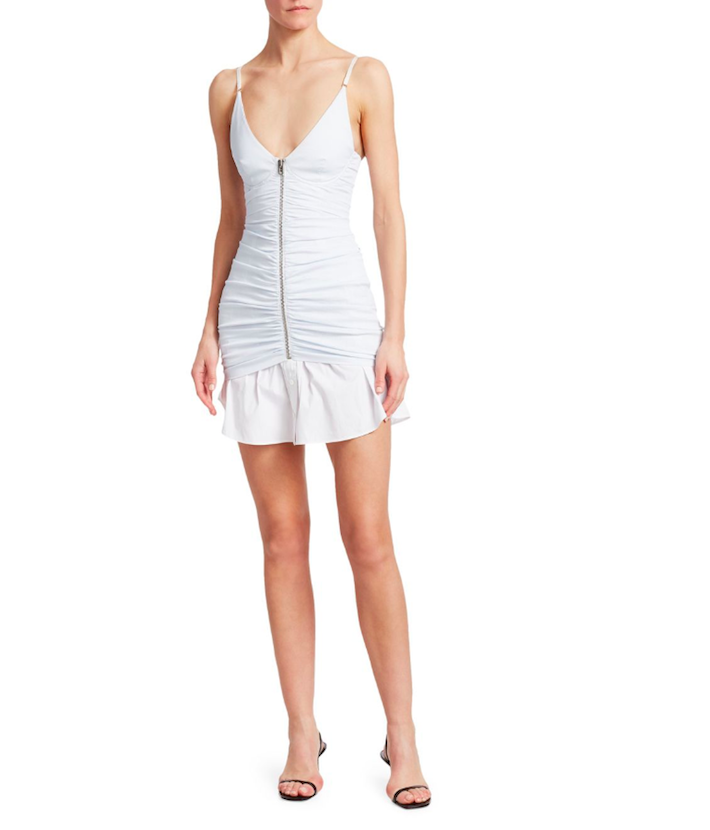 a woman wearing a white Ruched Zip Front Camisole Dress by alexander wang showing trendy fourth of july outfits