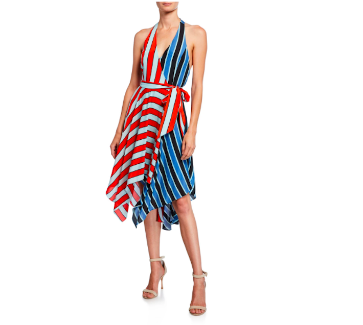 a woman wearing a colorblock striped dress by ALICE + OLIVIA showing trendy fourth of july outfits