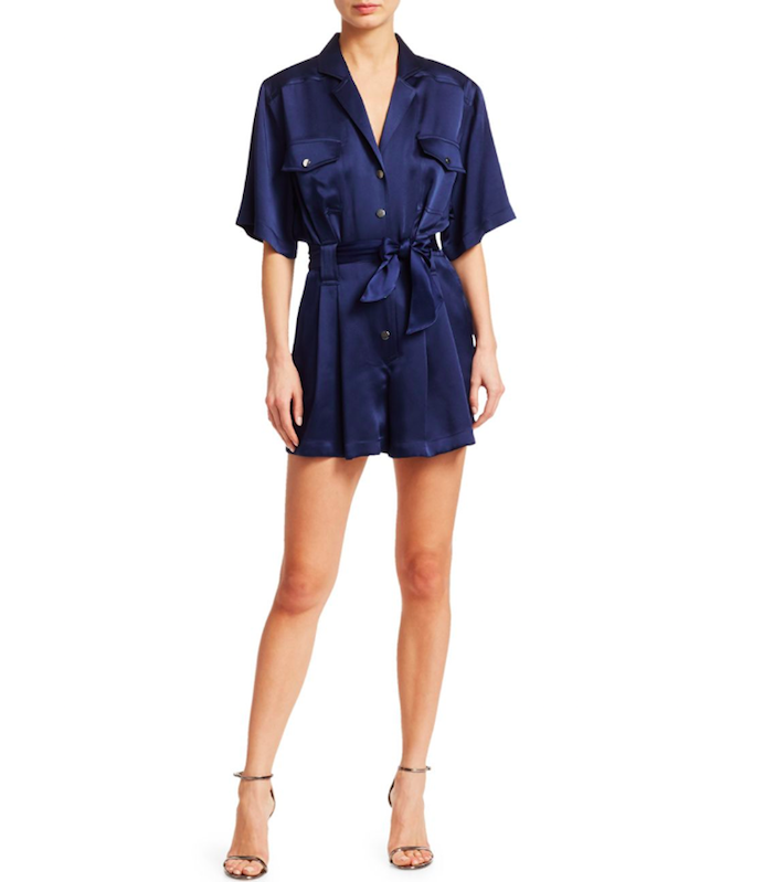 a woman wearing a blue satin romper by CAROLINA RITZLER showing trendy fourth of july outfits