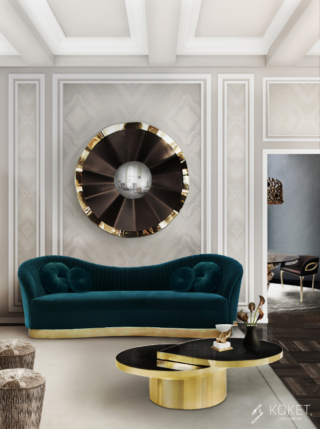 reve-mirror-kelly-sofa-tears-cocktail-table-koket-projects-summer home design trends 2019