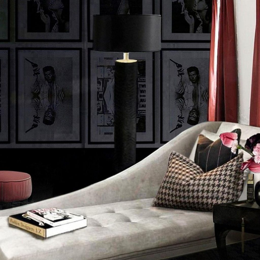feminine design Sitting Room area with KOKET reptilian floor lamp and envy chaise for a diva woman