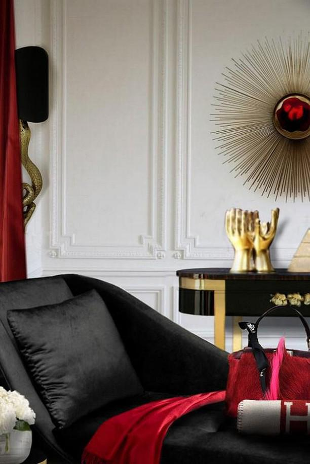 feminine design Sitting Room area with KOKET Brilliance Sconce, Serpentine Sconce, orchidea console and envy chaise. Red, black and gold color scheme. for a fashionista woman