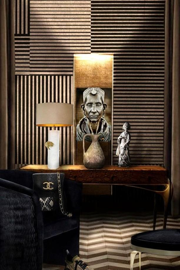 feminine design Classy sitting area with KOKET Vengeance Table Lamp. Gold, Black and Brown theme for a globetrotter woman