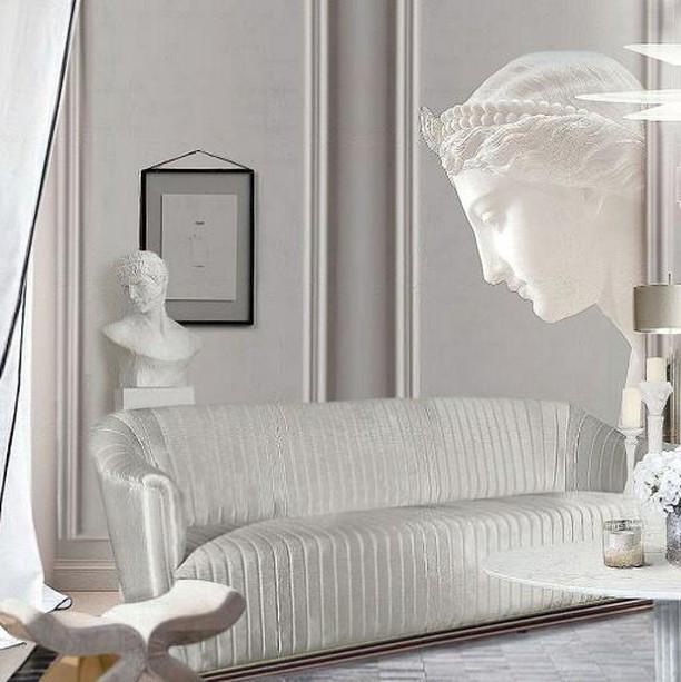 KOKET MIA sofa and BOLVARDI bench arranged in an all white themed feminine design sitting area for a purist woman