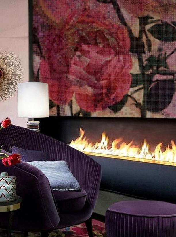 feminine design Sitting Area with KOKET Audrey Chair and Brilliance Sconce and Flower printed wallpaper  for a romantic woman