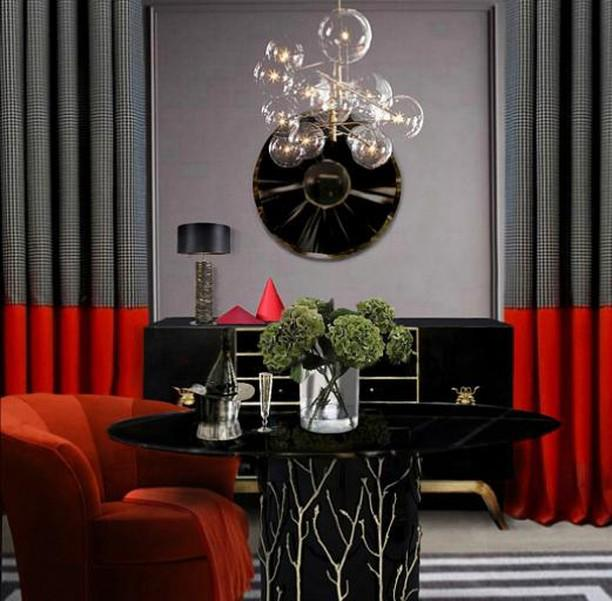 Elegant sitting area for a woman entrepreneur with a feminine design featuring KOKET Ruche' table lamp, Reve mirror, Enchanted II dining table, Sinful cabinet, and Besame II Chair