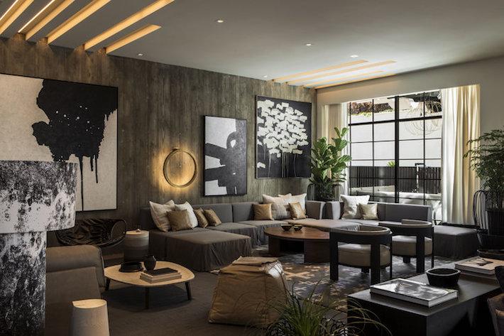 Wood Accent Statement Furniture in La Peer Hotel interior designed by Gulla Jonsdottir