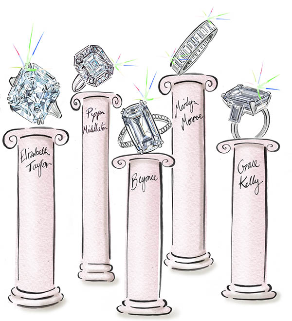 drawing of celebrity engagement rings