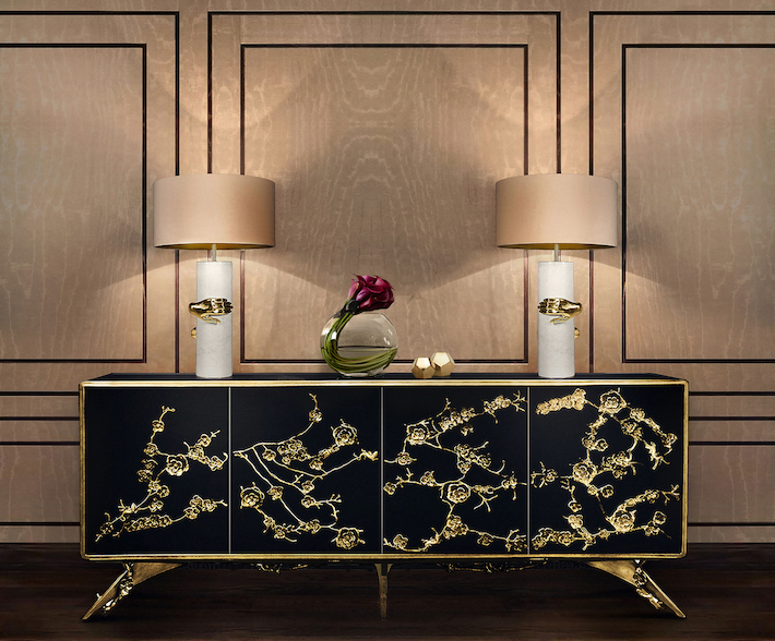 Vengeance Table Lamp and Orchidea Cabinet by KOKET - summer decor