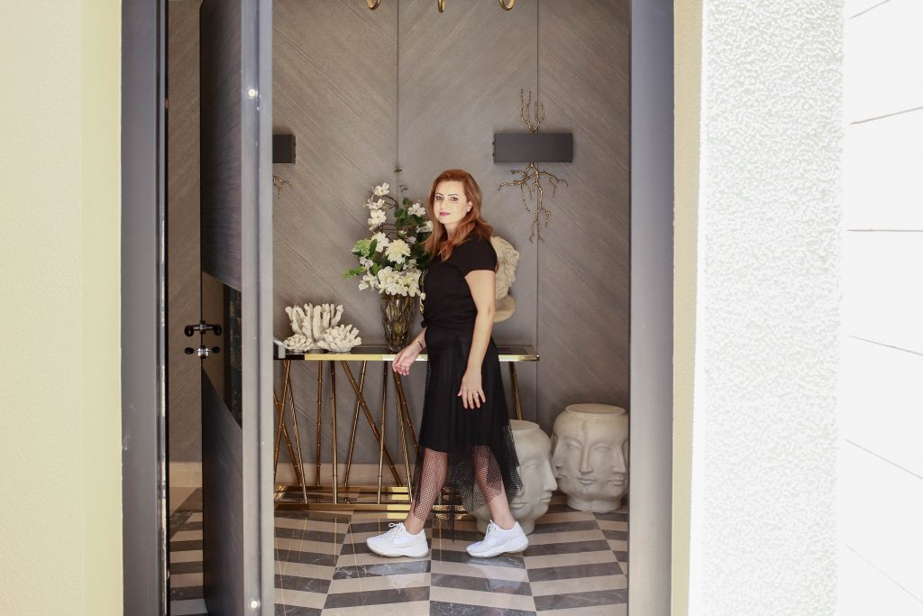 Maysoon Haymoor in the entryway of her Amman-based interior design project