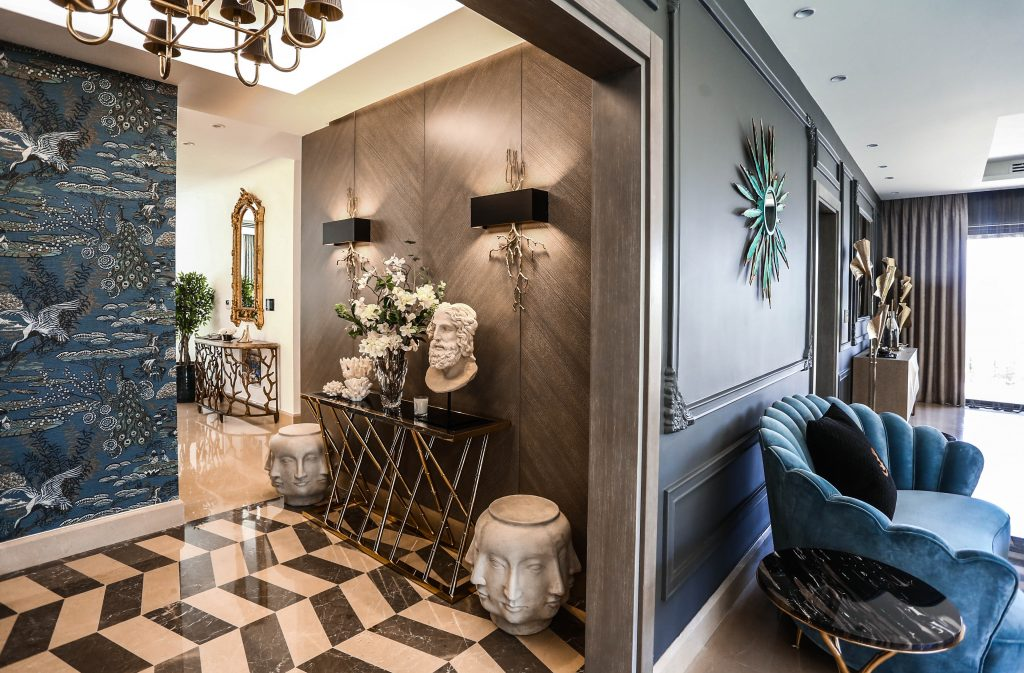 looking from living room to entryway in amman based interior design project by maysoon haymoor