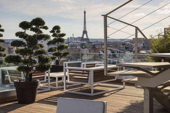 a view of the Eiffel tower from Hotel Bowmann Paris by Laurent Maugoust