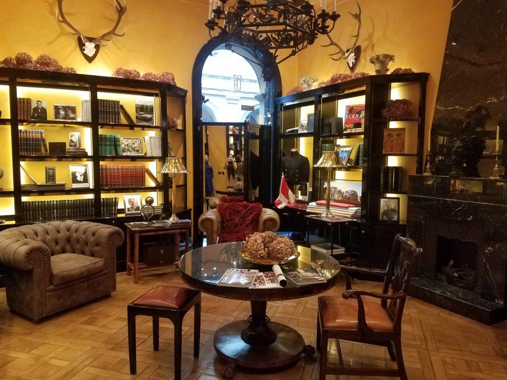 club room at rubinacci milan fashion