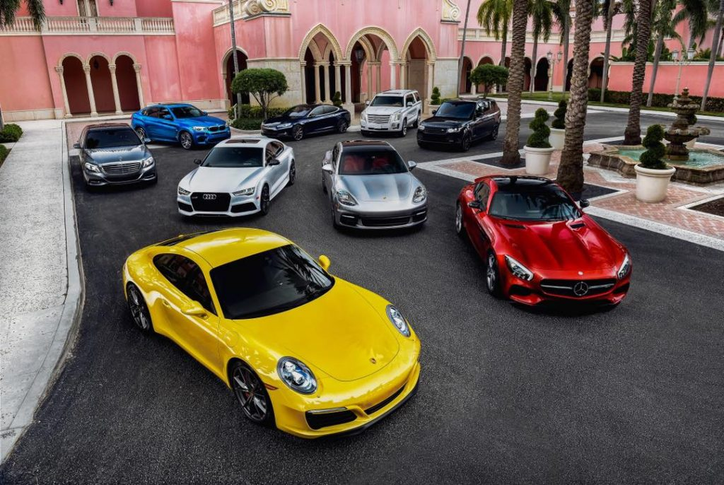 lineup of luxury cars from revolve luxury car subscription service in south florida