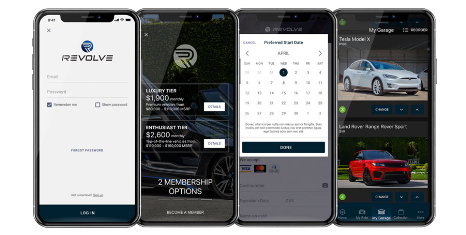 luxury car subscription service revolve