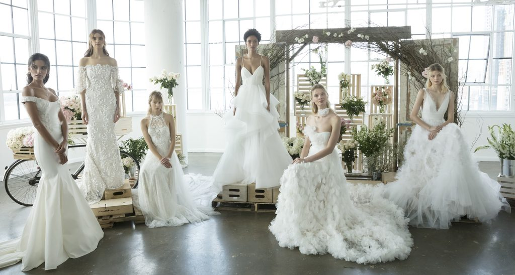 Models pose at the Marchesa Bridal Fall 2018 Collection Presentation during NY Fashion Week Bridal - upcoming fashion shows fall 2019