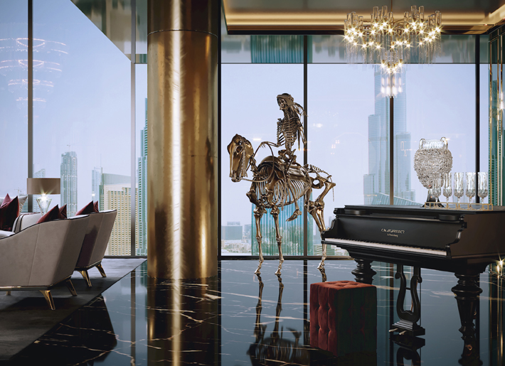 interior design featuring a gold skeleton statue by stephen cawston