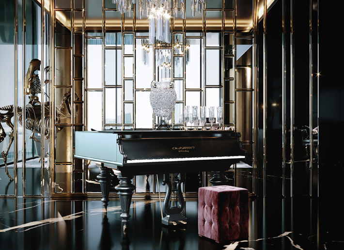 mirrored walls around a grand piano in a luxury interior by celia sawyer