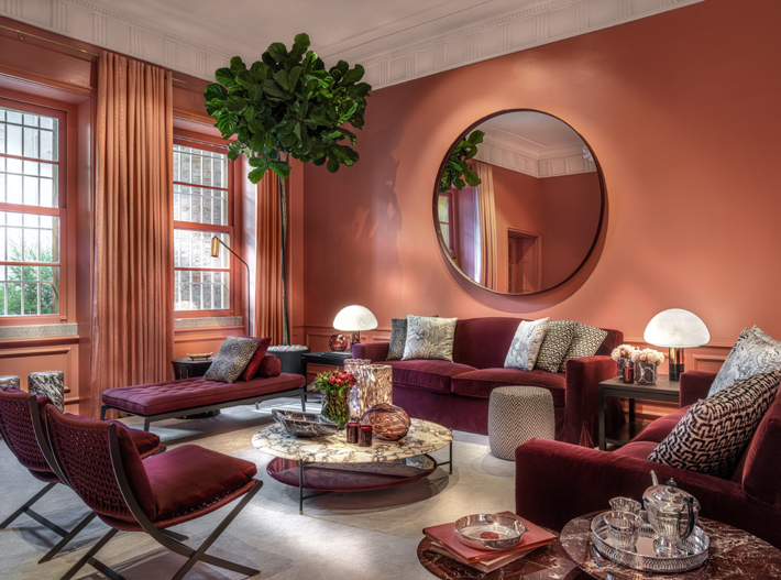 coral and burgundy living room design
