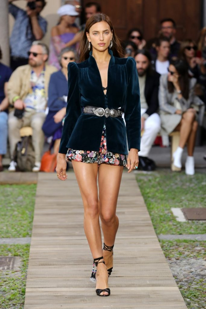 Irina Shayk walks the runway at the Etro show during the Milan Fashion Week Spring/Summer 2020 wearing a shorts suit (Photo by Andreas Rentz/Getty Images)