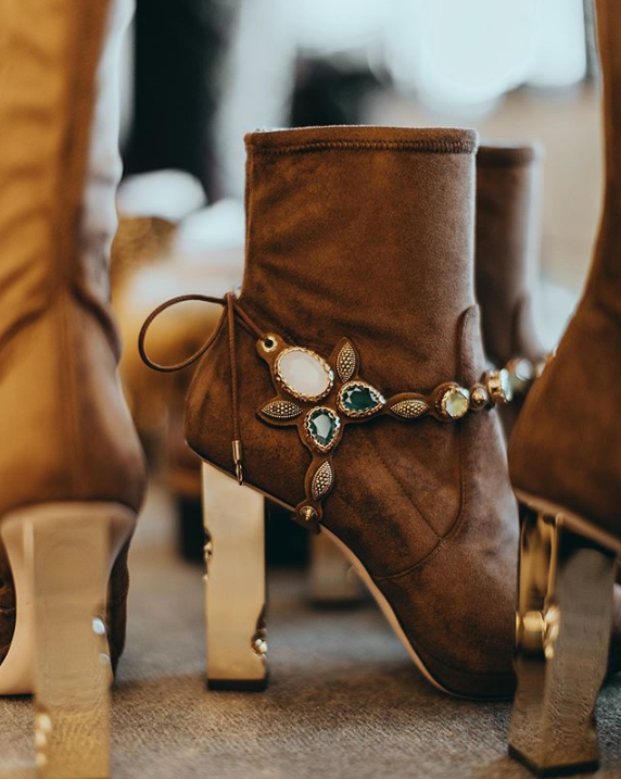 brown leather Boots with jewel accents from Luis Onofre's Fall 2019 Apres-Ski Collection