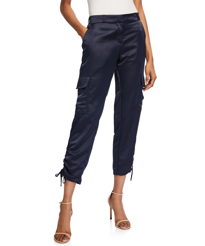 woman wearing navy blue silk cargo pants from neiman marcus fall fashion trends 2019